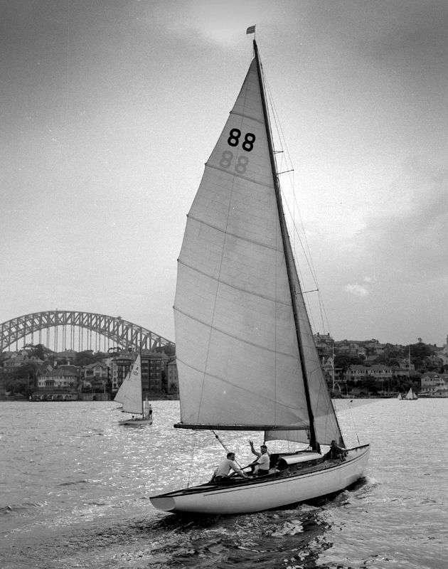 """Sailing on Sydney Harbour has always be popular pass time, shown here is the """"Hiawatha"""" sailing Yacht. Photo shared by Max Dupain photo, 20 Nov 1954. v@e."""