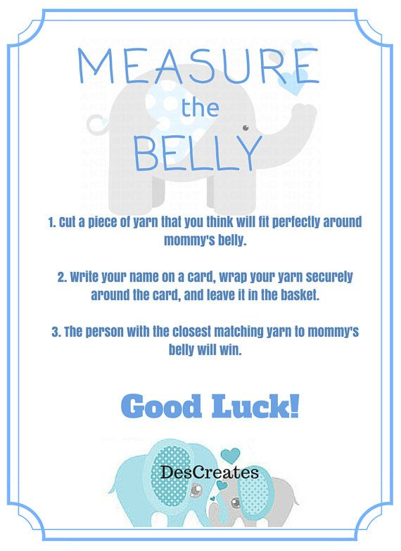 Elephant Theme Measure The Belly Baby Shower Game Instant
