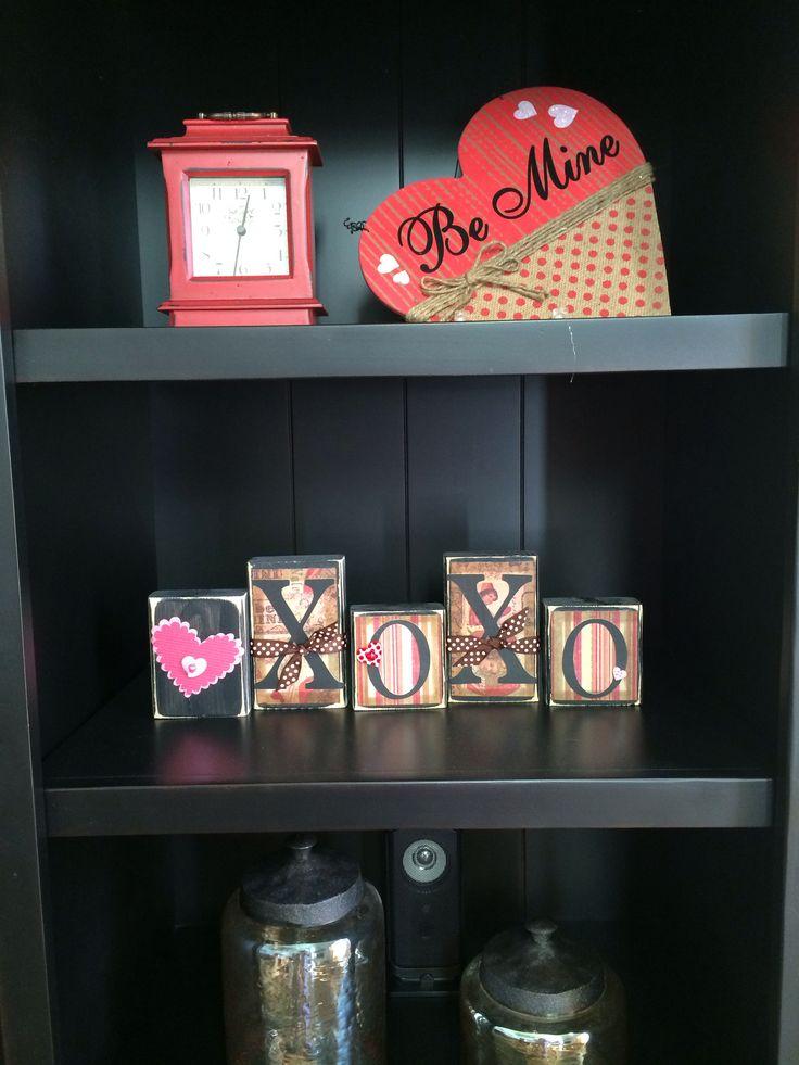 Valentine 39 S Home Decor Be Mine Xoxo Blocks Hearts