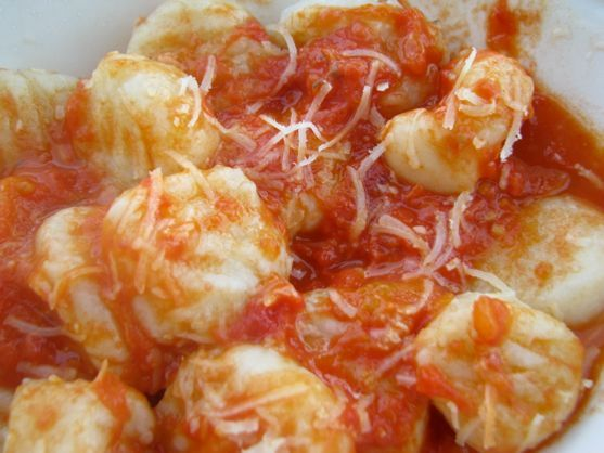 Marcella Hazan's Homemade Gnocchi with (the justly famous) Tomato Onion Butter Sauce