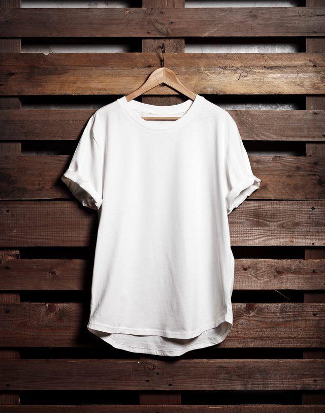 Download Blanc White Tshirt Hanging On Wood Background T Shirt Picture Denim Display Blank T Shirts