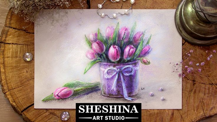 How to draw tulips with soft pastels  Flowers  Sheshina Ekaterina