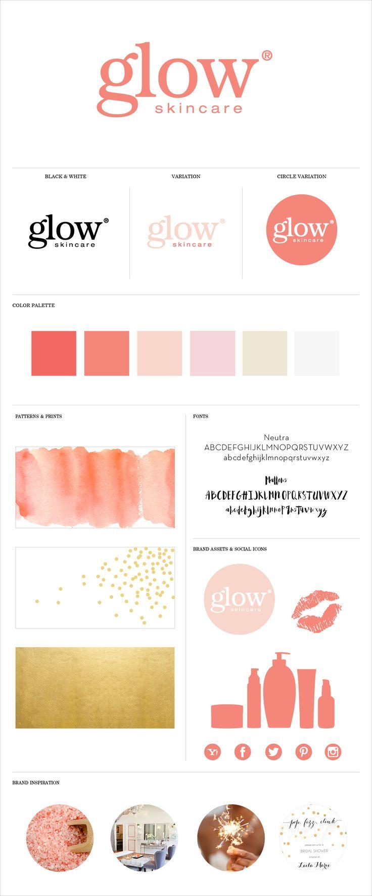 Brand identity system for Glow Skincare LA / Branding / Logo Design / Kate Spade / Girly Logo / Spa Logo / LA