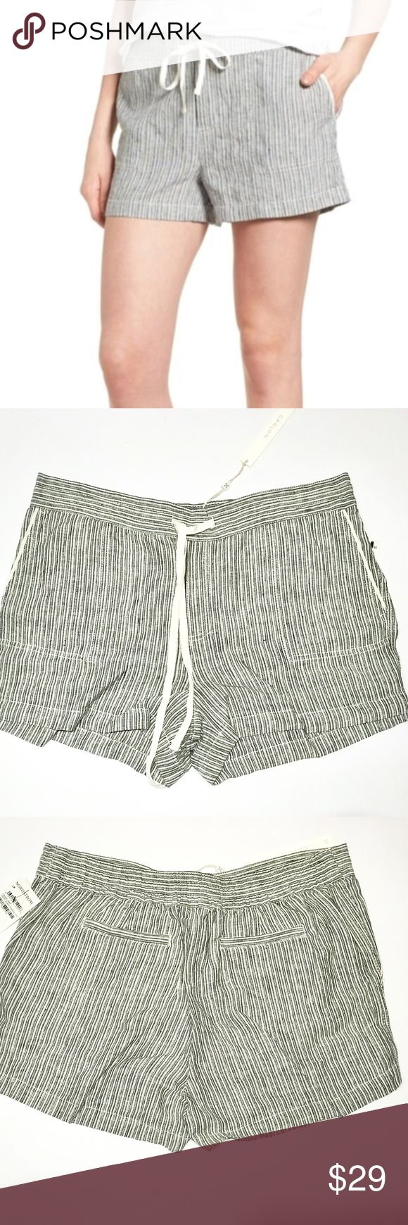 """Caslon 100% Linen Shorts Petite Large A drawstring waist caps off the relaxed ease of linen-woven shorts in an array of geometric prints in shades of black and ivory white. Petite sizes best fit women 5'4"""" & under. - Petite: 34"""" waist; 3"""" inseam; 24"""" leg opening; 11"""" rise; Size: Petite Large - Pull-on style - Front slant pockets; back welt pockets - 100% linen - Machine wash cold, tumble dry low Caslon Shorts"""