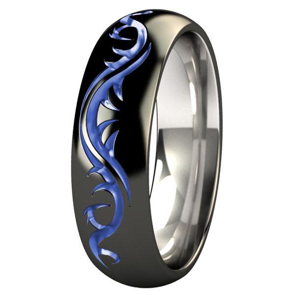 Amazing  Tattoo Dome Black and Colored Titanium Wedding Ring