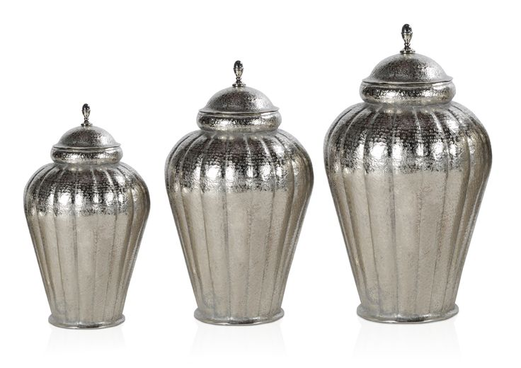 MAHAL URN-The beautiful Aluminum trio comes in large, medium and small sizes and it will bring a stark effect into just every room.The URNS hold beauty and functionality;  DIMENSIONS:LARGE-L52xW52xH97 cm; MEDIUM-L43xW43xH83cm;SMALL- L39xW39xH63cm;PRICE:7500/-,6000/-,4500/-;  Buy Now: http://tfrhome.com/landing/productlandingpage.php?product_code=ma-44