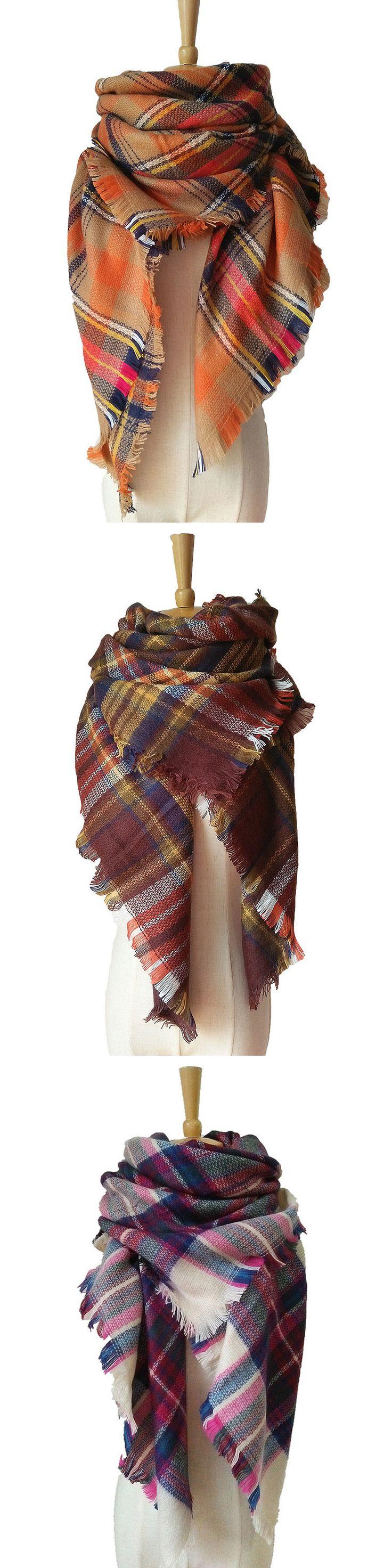 Tartan Plaid Blanket Scarf For Women Bandana Warm Square Scarves Winter Scarf Shawl Blanket