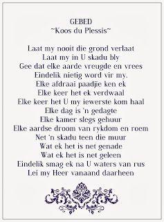 Afrikaanse Inspirerende Gedagtes & Wyshede: Koos du Plessis se Gebed,