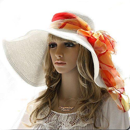Luxury Lane Women's White Floppy Paper Straw Sun Hat with Removable Orange Scarf: Straws Sun, Floppy Paper, Luxury Lane, Orange Scarfs, Lane Women, Paper Straws, Removal Orange, Floppy Hats, Sun Hats