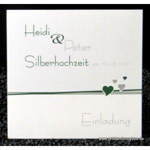 Einladung zur Silberhochzeit Herzchen dunkelgrün