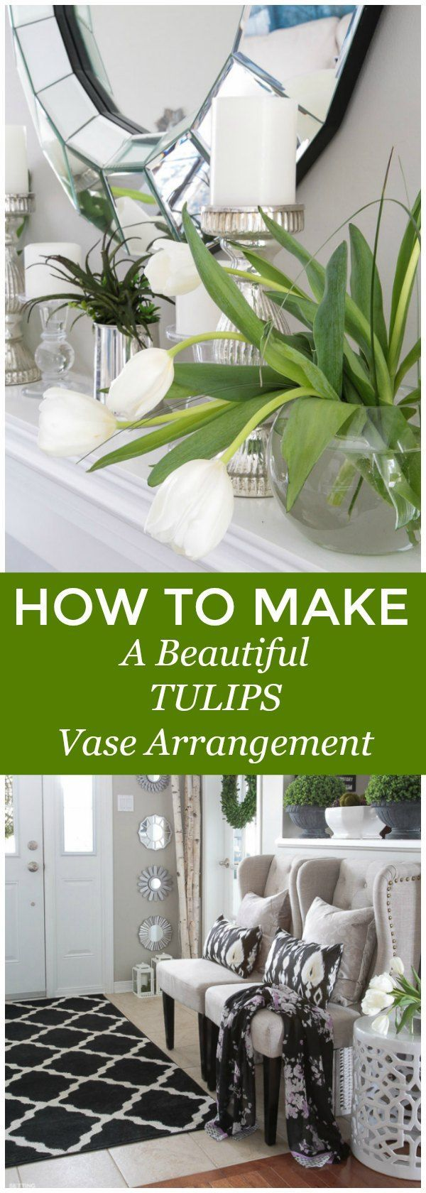 See this easy flower arrangement lesson! How to make a BEAUTIFUL TULIPS Vase Arrangement! Stunning centerpiece idea for a wedding, hostess gift or Mother's Day brunch!