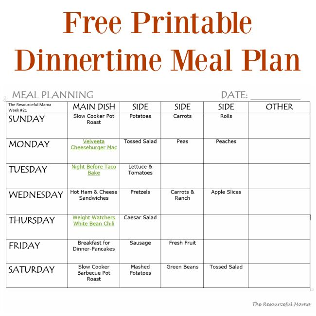 51 best Meal Planning images on Pinterest Family meal planning