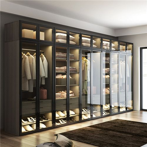 Led Hanging Closet Rod Glass Door Closet Wardrobe Armorie