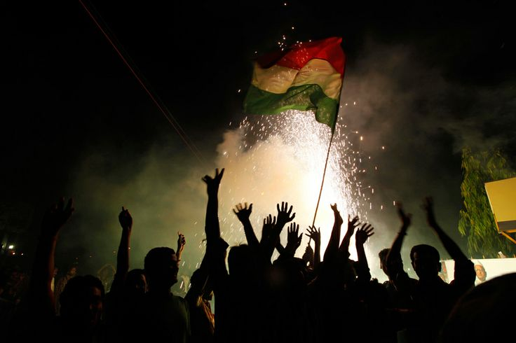 Indian cricket fans celebrate the victory of Indian team by burning fire crackers in Allahabad, India, Sunday, April 3, 2011. The Indian cricket team lifted the Cricket World Cup Saturday night for the first time in 28 years after a six-wicket victory against Sri Lanka at the Wankhede Stadium. (AP Photo/Rajesh Kumar Singh)