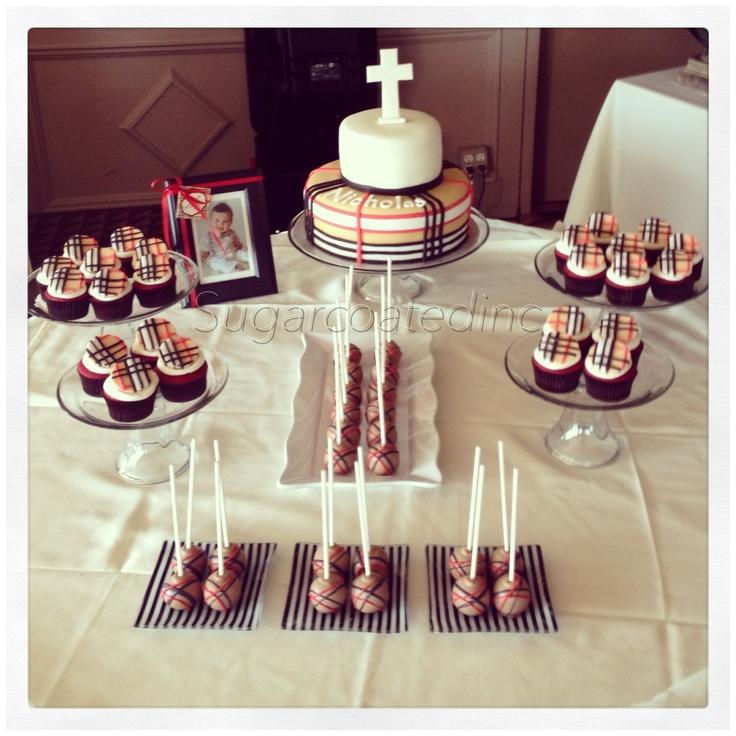 Burberry Theme Baptism Sweet Table By Www Sugarcoatedinc
