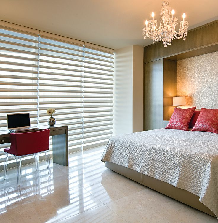 Bedroom window coverings never looked so good, with this room darkening solution. Luxaflex® Pirouette® Shadings
