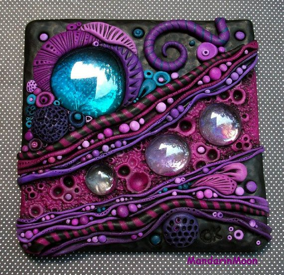 Purple Rhapsody Mosaic Art Tile Polymer Clay and Glass