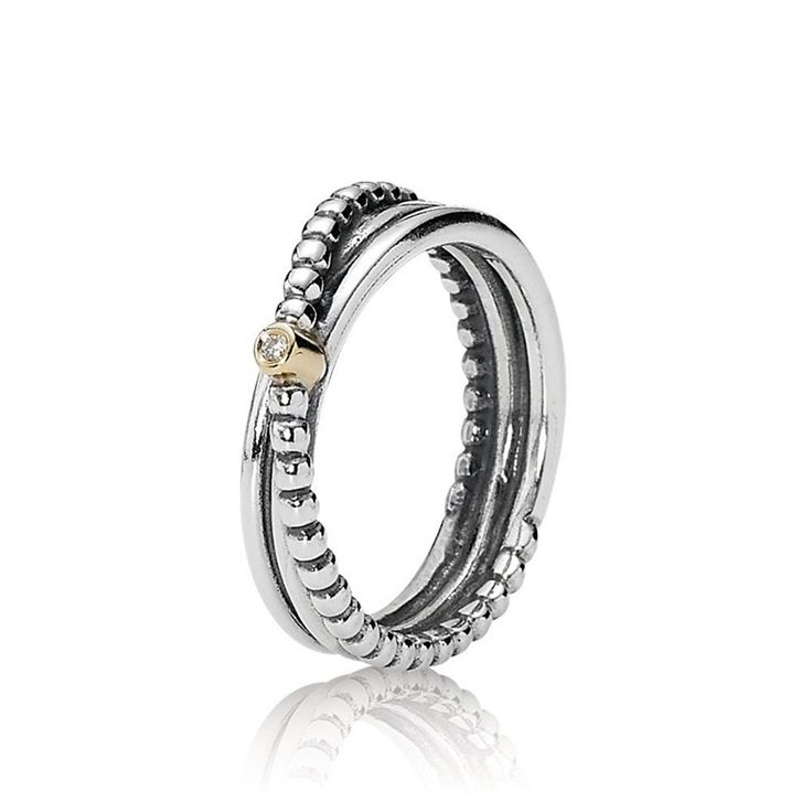 Pandora 925 ALE 14k Gold Diamant Ring Sterling Silber 190243D