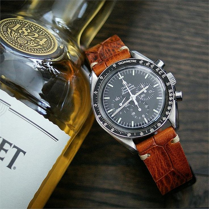 BandRBands 20mm Classic Vintage Leather Watch Band Strap on a Omega Speedmaster Professional
