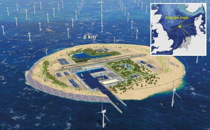 Energiekonzerne aus Deutschland, Dänemark und den Niederlanden wollen gemeinsam 80 Millionen Menschen mit Strom versorgen und den Preis für Windenergie senken. Möglich machen soll das eine künstlichen Insel in der Nordsee.