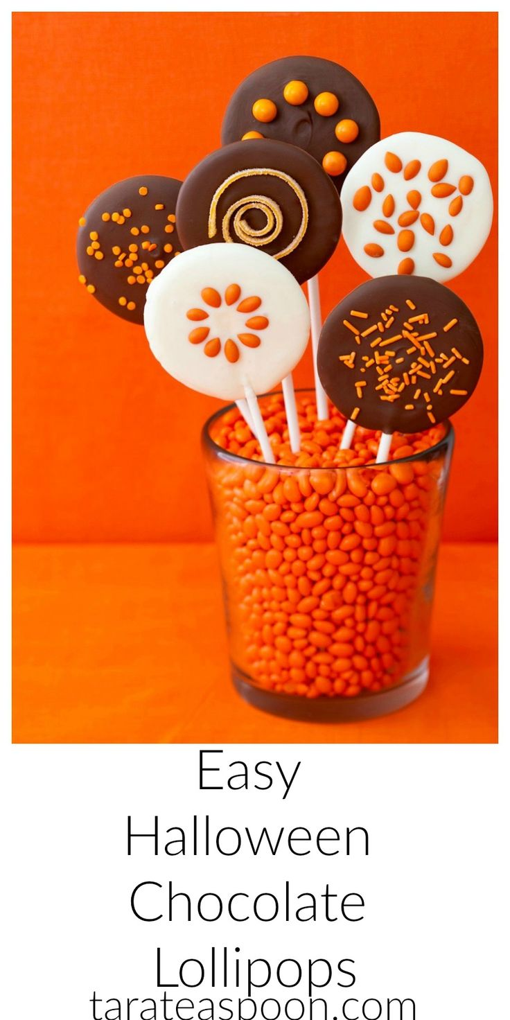 Easy Halloween chocolate lollipops get sprinkled and garnished with sparkly, shiny and crunchy orange candy for a festive party treat and favor.