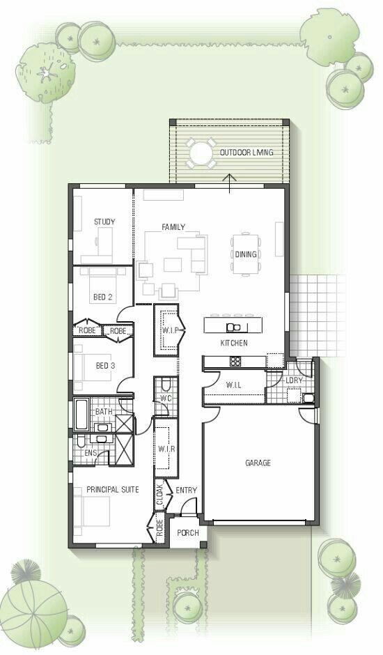Plano de vivienda con tres habitaciones y estudio, con garaje.