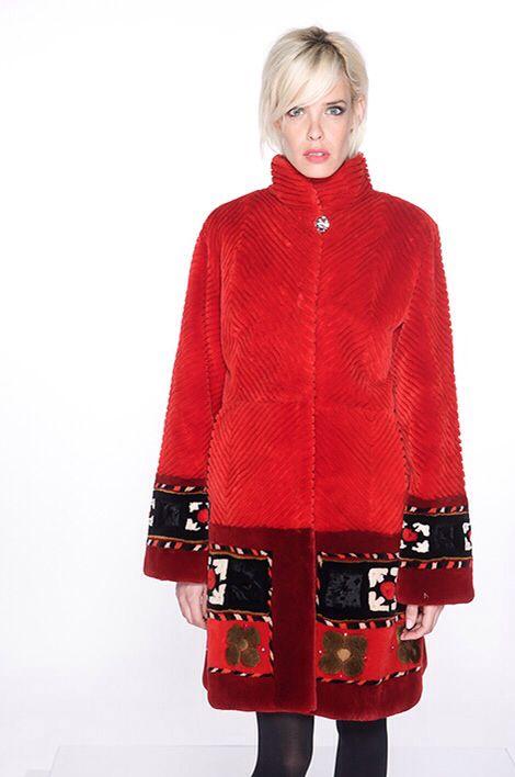 """Zuki Sheared Beaver Fur """"Ikat"""" Coat"""