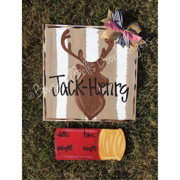 Deer Hospital Door Hanger, hunting door hanger, deer door hanger, deer nursery decor, hunting nursery decor, baby Door Decoration, Baby Gift by BowsandBellsHangers on Etsy https://www.etsy.com/listing/232162014/deer-hospital-door-hanger-hunting-door