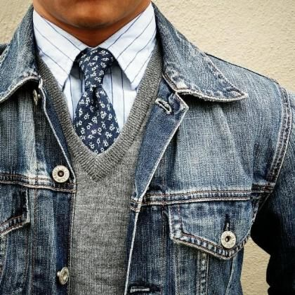 Mixed patterns in the blue shirt and tie. Broke up all the blue with the gray sweater.