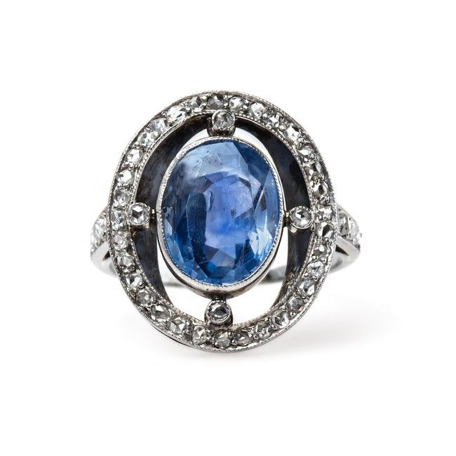 Art Deco engagement or cocktail ring with a 4.50ct Sri Lankan sapphire from Trumpet & Horn
