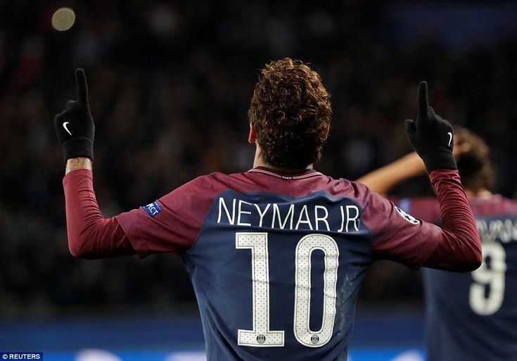Neymar looks to the sky after putting Paris Saint-Germain into the lead in front of a packed crowd at the Parc des Princes