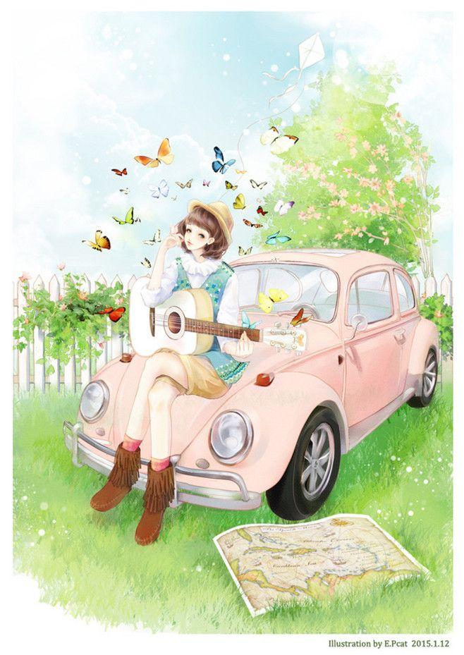 ピンク系車アニメ バタフライイラスト ギターを弾き女の子