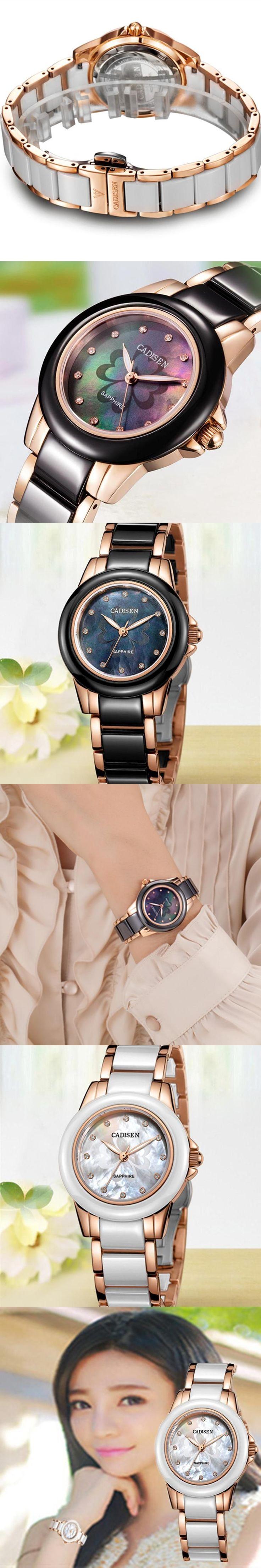 CADISEN ladies watch woman top brand name De Luxe girl leisure ceramic wristwatch Clock ladies watches Relogio Feminino watches