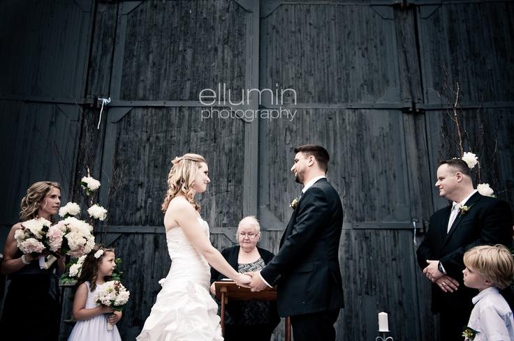 Ceremony in front of the barn door