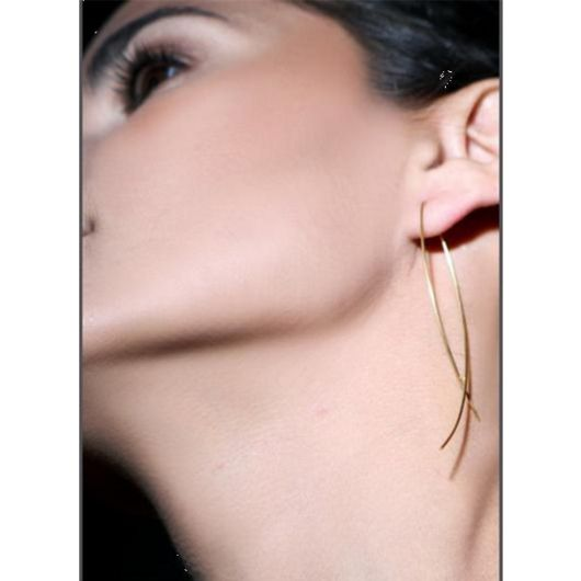 Gold Plated Simple Long Wire Fish Hoop Earrings