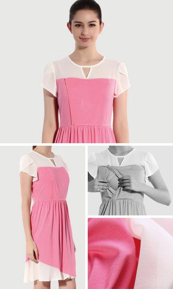 WHITE / PINK CHIFFON Nursing Dress Pink Nursing Dress by BESLOV