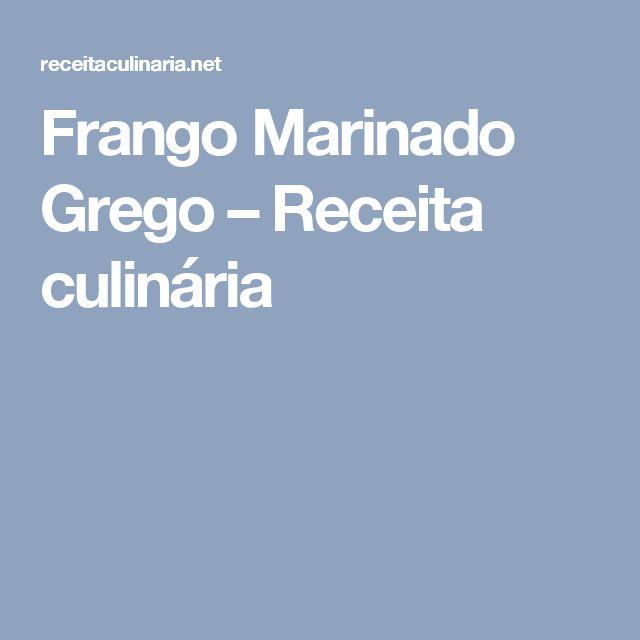 Frango Marinado Grego – Receita culinária