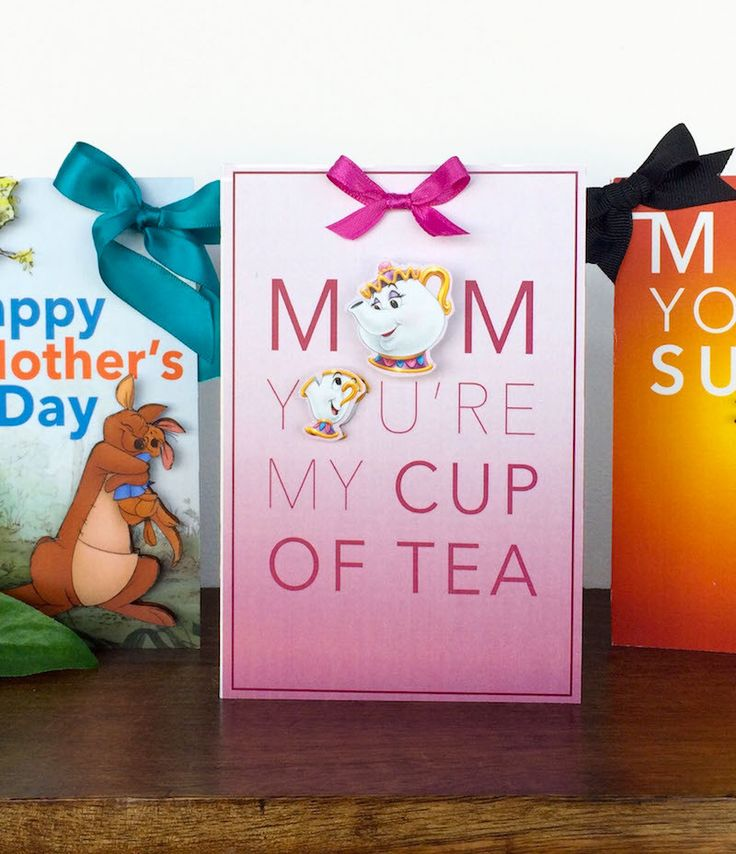 DIY: Disney Mother's Day printable cards   The Incredibles + Winnie the Pooh + Beauty and the Beast   [ https://style.disney.com/living/2016/05/03/diy-mothers-day-cards/ ]