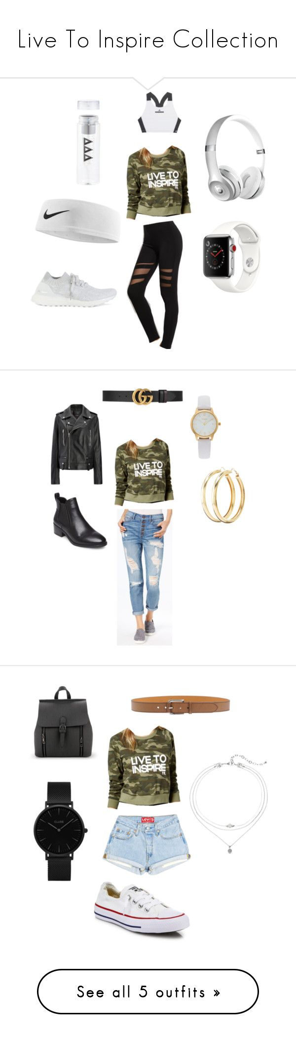 """""""Live To Inspire Collection"""" by norafilbin on Polyvore featuring adidas, Boy Meets Girl, NIKE, Apple, Rewash, Charlotte Russe, Vivani, Joseph, Steve Madden and Gucci"""