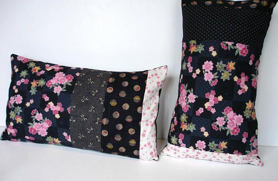 Housse de Coussin jardin japonais en patchwork