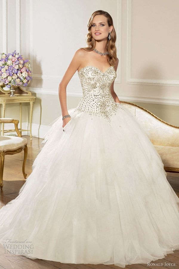 ronald joyce wedding dresses 2013 strapless ball gown tulle satin embellished bodice 67028