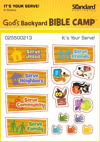 It's Your Serve! Stickers (Vacation Bible School 2013: God's Backyard Bible Camp) by Standard Publishing http://www.amazon.com/dp/078473769X/ref=cm_sw_r_pi_dp_BMIRtb12119RKAC0