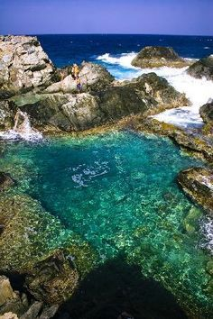 Natural pool- Aruba.  Exactly what it looked like when I was there! Gorgeous to swim in it