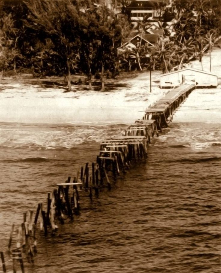 """Naples Pier after Hurricane Donna September 1960 source: Naples Daily News or in 1960 the """"Collier County News"""""""