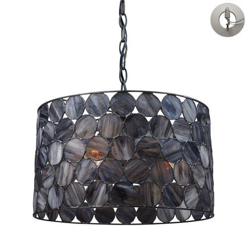 72003-3-LA | Cirque 3 Light Pendant In Matte Black And Tiffany Glass - Includes Recessed Lighting Kit - 72003-3-LA