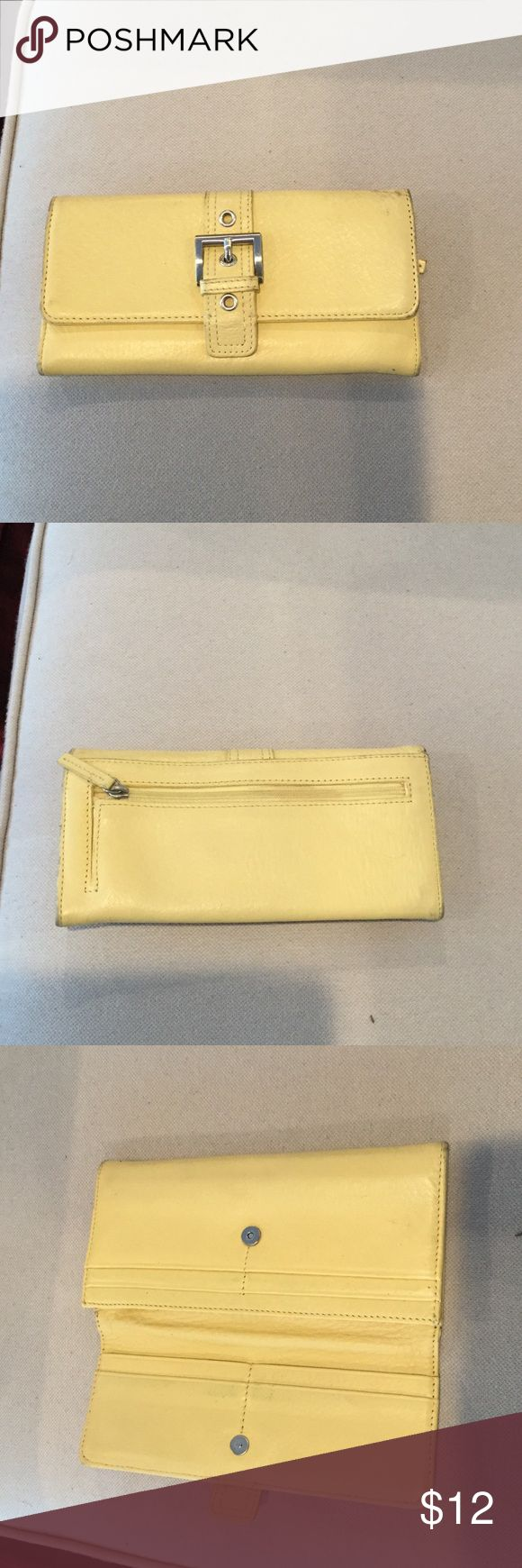 Talbots Yellow Leather Wallet Pebbled leather wallet by Talbots.  Light yellow with silver hardware.  A few dark scuffs as seen in the images, but still plenty of life left. Talbots Bags Wallets