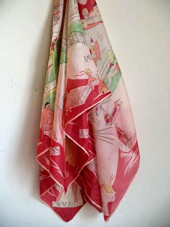 1950s Atlantic City Souvenir Silk Sheer Scarf by MushkaVintage3
