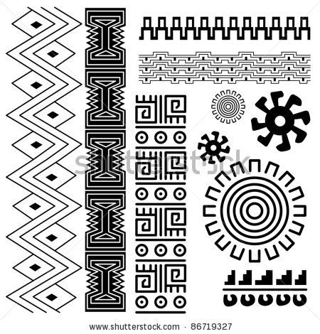 Vector image of ancient american pattern on white by Maria Egupova, via ShutterStock  mas patrones de los artes de las mayas