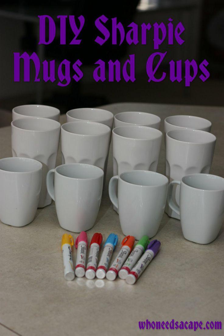 diy sharpie ceramic mugs  cups