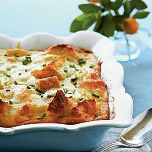 Creamy Egg Strata with swiss and parmesan cheeses featured in Southern Living magazine